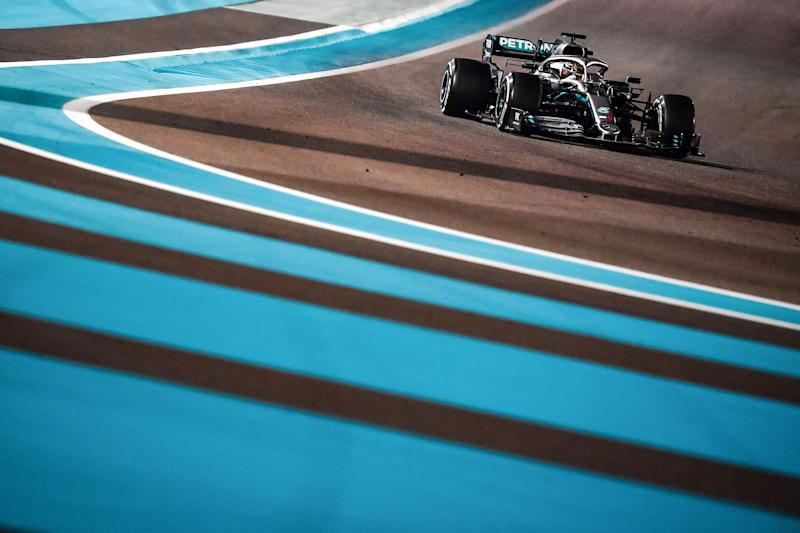 TOPSHOT - Mercedes' British driver Lewis Hamilton steers his car at the Yas Marina Circuit in Abu Dhabi, during the final race of the Formula One Grand Prix season, on December 1, 2019. - (Photo by ANDREJ ISAKOVIC / AFP) (Photo by ANDREJ ISAKOVIC/AFP via Getty Images)