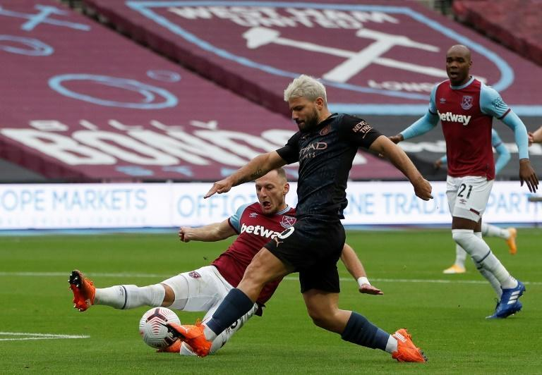 Sergio Aguero, in black, made his second league appearance of the season against West Ham only to suffer a fresh injury