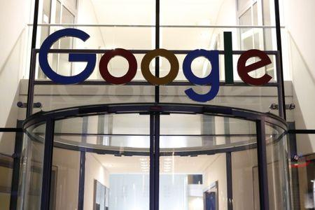 Google logo adorns entrance of Google Germany headquarters in Hamburg