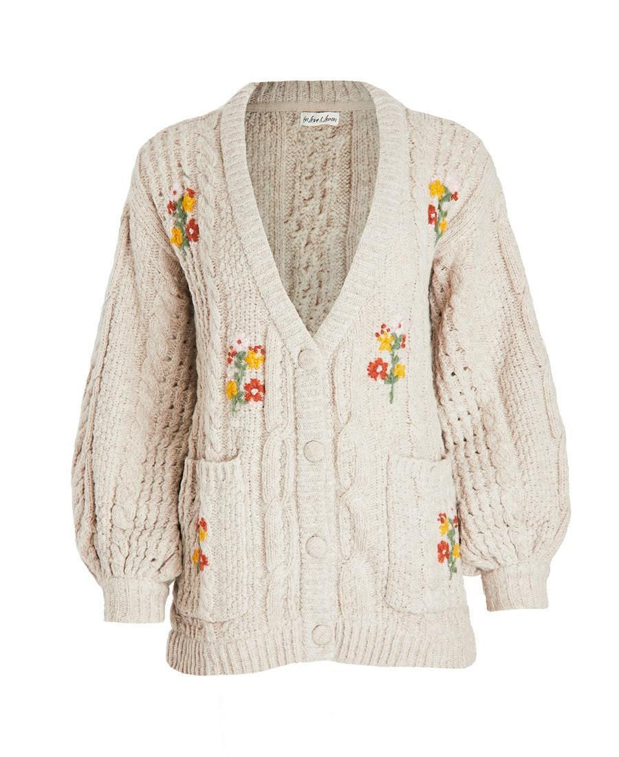 """Drape this embroidered cable-knit over your <a href=""""https://www.glamour.com/gallery/things-to-buy-through-glamour-rewards?mbid=synd_yahoo_rss"""" rel=""""nofollow noopener"""" target=""""_blank"""" data-ylk=""""slk:Nap Dress"""" class=""""link rapid-noclick-resp"""">Nap Dress</a> and you have cottagecore at it's finest. $216, Shopbop. <a href=""""https://www.shopbop.com/amaryllis-button-down-cardigan-love/vp/v=1/1527245386.htm?"""" rel=""""nofollow noopener"""" target=""""_blank"""" data-ylk=""""slk:Get it now!"""" class=""""link rapid-noclick-resp"""">Get it now!</a>"""