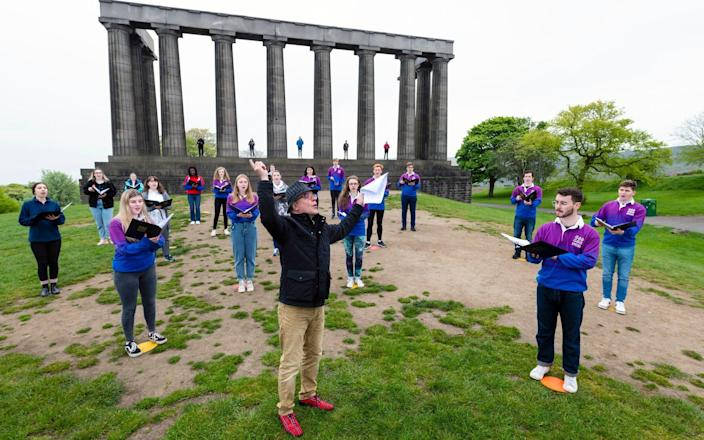 Conductor Christopher Bell Today restrictions in Scotland move to level 2 enabling up to 30 people to gather outside to sing - Ian Georgeson