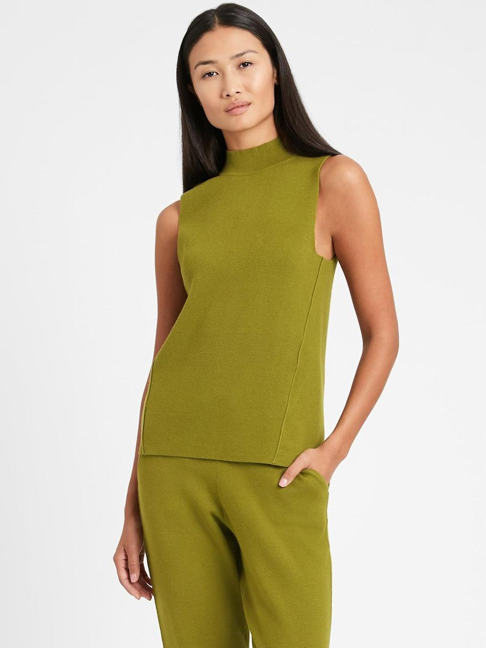 <p>We loved the way they styled this <span>Banana Republic Mock-Neck Sweater Shell</span> ($60) with the Coatigan. It's such a monochromatic chic look.</p>