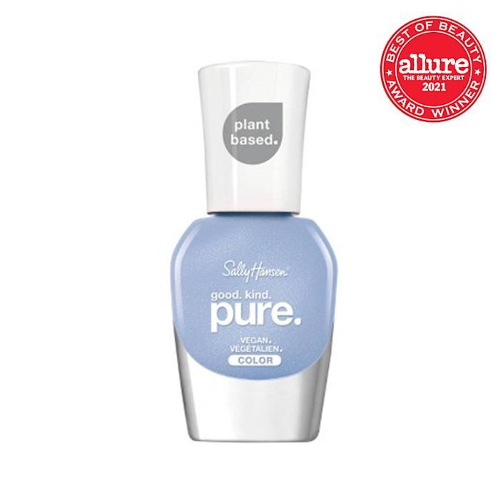 """Sally Hansen's Good Kind Pure <a href=""""https://www.allure.com/gallery/best-of-beauty-nail-polish-care-winners?mbid=synd_yahoo_rss"""" rel=""""nofollow noopener"""" target=""""_blank"""" data-ylk=""""slk:nail"""" class=""""link rapid-noclick-resp"""">nail</a> polish collection is pretty impressive. Each of its high-shine pigments are made from a <a href=""""https://www.allure.com/gallery/best-nontoxic-5-7-9-free-nail-polishes?mbid=synd_yahoo_rss"""" rel=""""nofollow noopener"""" target=""""_blank"""" data-ylk=""""slk:16-free"""" class=""""link rapid-noclick-resp"""">16-free</a> plant-based formula, yet its rich colors are far from compromised. We love most of the 18 shades available, but the pastel Crystal Blue shade seen here reigns supreme as our favorite. $9, Ulta Beauty. <a href=""""https://shop-links.co/1749567517284044838"""" rel=""""nofollow noopener"""" target=""""_blank"""" data-ylk=""""slk:Get it now!"""" class=""""link rapid-noclick-resp"""">Get it now!</a>"""