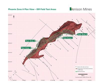 Figure 2. Phoenix Zone A plan view showing Test Areas delineated for ISR field testing. (CNW Group/Denison Mines Corp.)