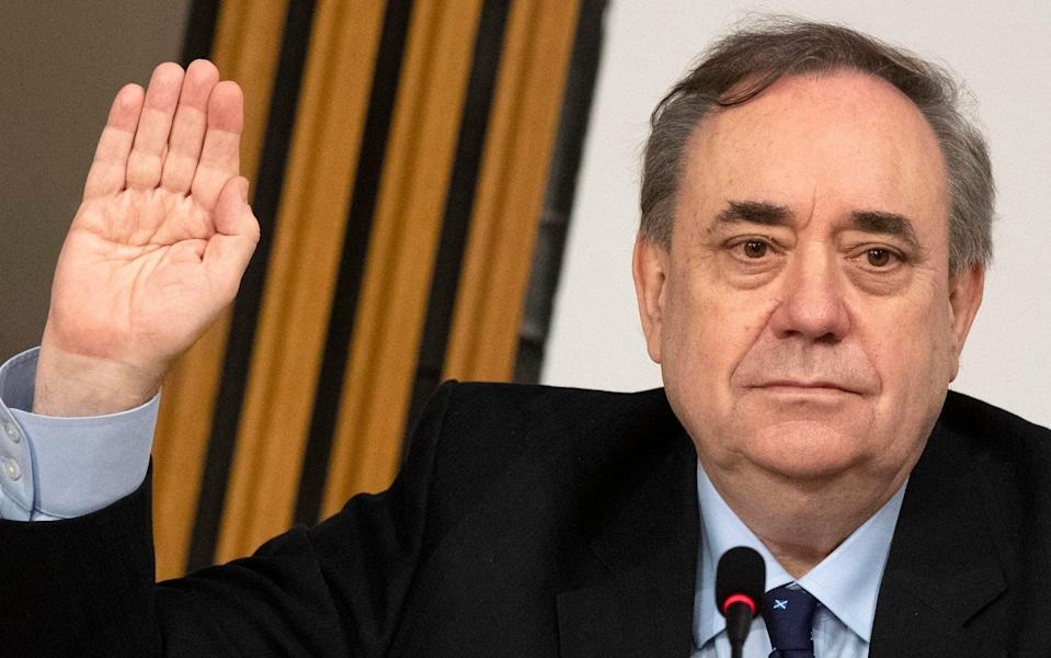 Former first minister Alex Salmond is sworn in before giving evidence to a Scottish Parliament Harassment committee, at Holyrood in Edinburgh, examining the handling of harassment allegations him. Picture date: Friday February 26, 2021.  - Andy Buchanan/PA Wire