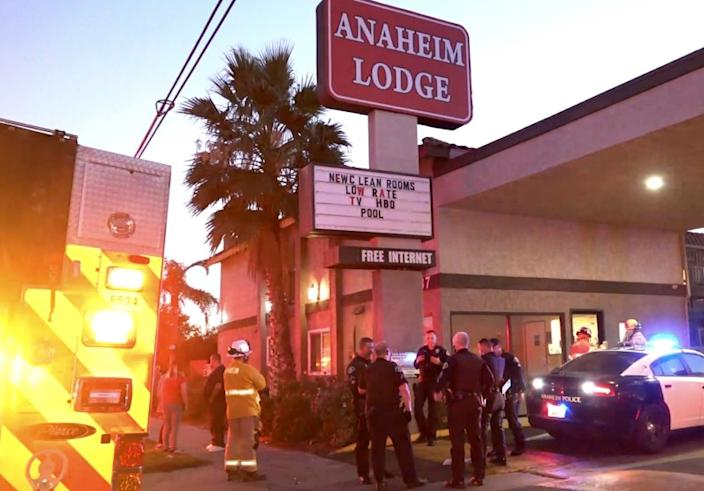 A man driving a Lexus SUV backed into the Anaheim Lodge Thursday afternoon