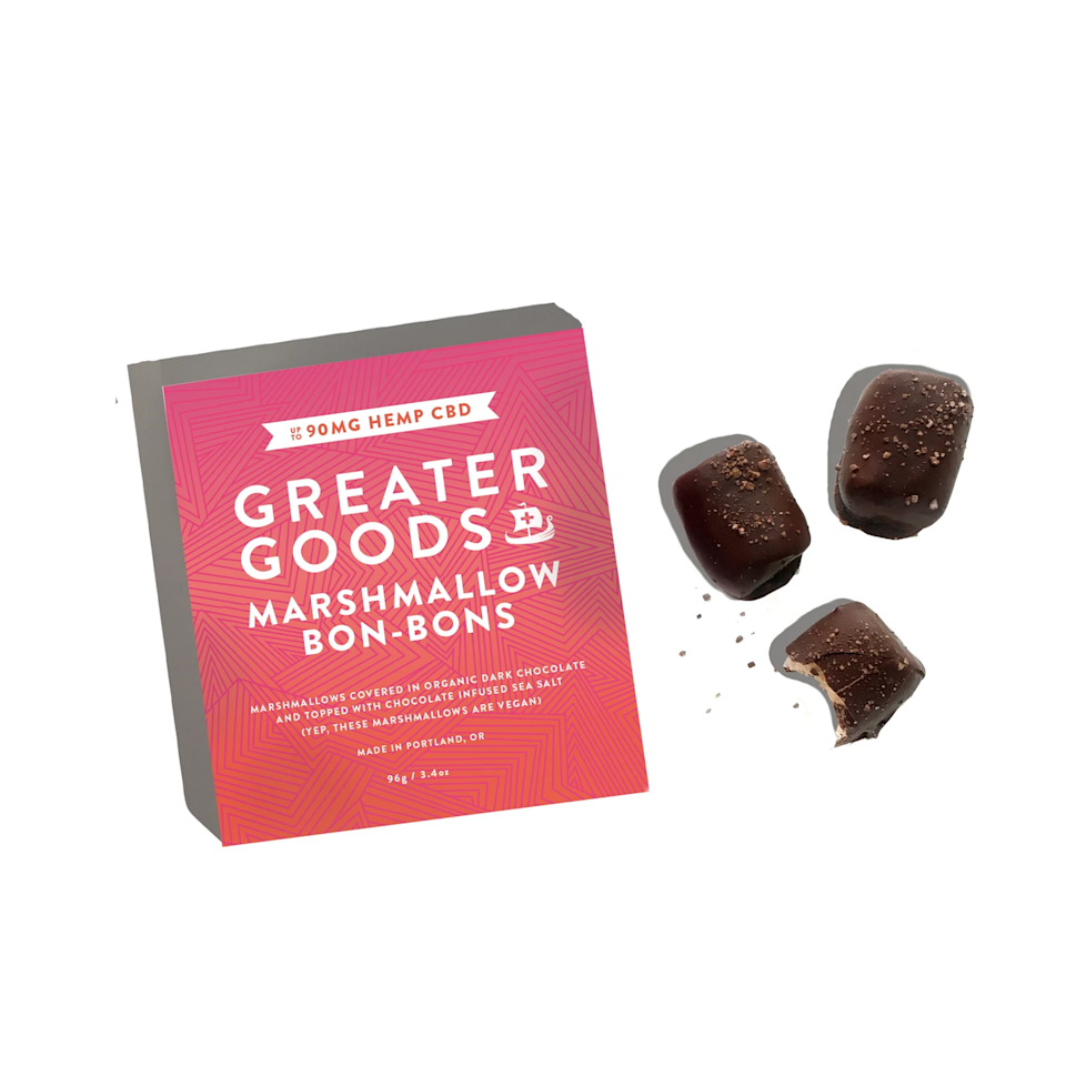 "<h3>Greater Goods Marshmallow Bon-Bons</h3><br>There are a lot of CBD sweets out in the world, but we had yet to see a chocolate-coated marshmallow bon-bon infused with the stuff — until now. <br><br><strong>Greater Goods</strong> Marshmallow Bon Bons, $, available at <a href=""https://go.skimresources.com/?id=30283X879131&url=https%3A%2F%2Ffleurmarche.com%2Fproducts%2Fmarshmallow-bon-bons"" rel=""nofollow noopener"" target=""_blank"" data-ylk=""slk:Fleur Marche"" class=""link rapid-noclick-resp"">Fleur Marche</a>"