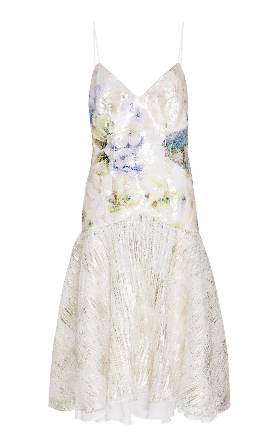 """<p><strong>Rodarte</strong></p><p>modaoperandi.com</p><p><strong>$2645.00</strong></p><p><a href=""""https://go.redirectingat.com?id=74968X1596630&url=https%3A%2F%2Fwww.modaoperandi.com%2Frodarte-ss20%2Ffloral-print-sequined-lame-slip-dress&sref=https%3A%2F%2Fwww.harpersbazaar.com%2Fwedding%2Fbridal-fashion%2Fg7503%2Foff-the-rack-wedding-dresses%2F"""" rel=""""nofollow noopener"""" target=""""_blank"""" data-ylk=""""slk:SHOP NOW"""" class=""""link rapid-noclick-resp"""">SHOP NOW</a></p><p>Channel tropical vibes with lame instead of heavy sequins and a floral accent in place of romantic lace.</p>"""