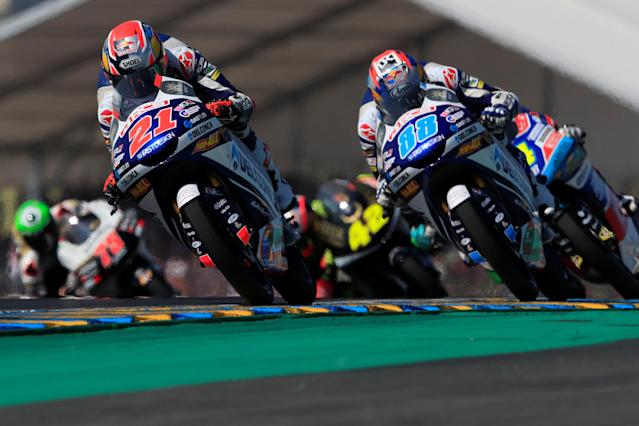 Motorcycling - Moto3 - French Grand Prix - Bugatti Circuit, Le Mans, France - May 20, 2018 Del Conca Gresini Moto3's Fabio Di Giannantonio and Del Conca Gresini Moto3's Jorge Martin during the race REUTERS/Gonzalo Fuentes