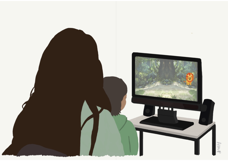 """<span class=""""caption"""">An example of what appears on screen when we measure toddlers' attention. Illustrated by Ana Maria Portugal, researcher in the TABLET team.</span> <span class=""""attribution""""><span class=""""license"""">Author provided</span></span>"""