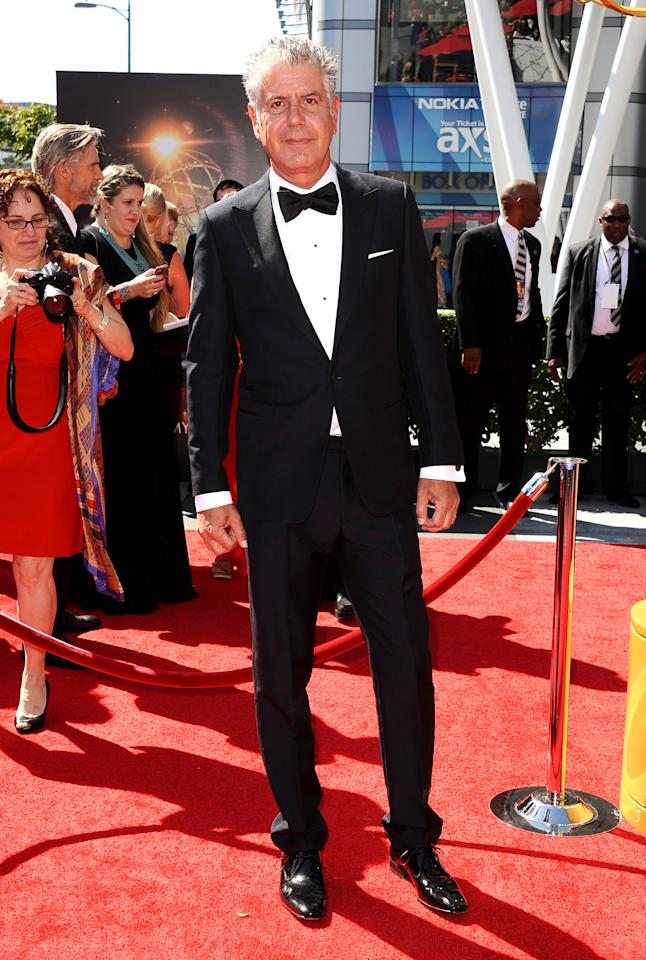 Anthony Bourdain arrives at the 2013 Primetime Creative Arts Emmy Awards, on Sunday, September 15, 2013 at Nokia Theatre L.A. Live, in Los Angeles, Calif. (Photo by Scott Kirkland/Invision for Academy of Television Arts & Sciences/AP Images)