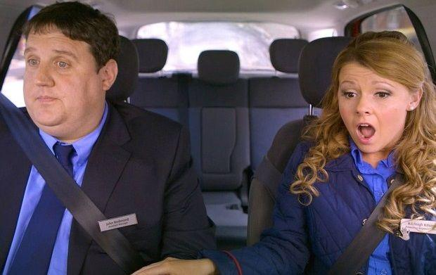 Peter Kay and Sian Gibson in 'Car Share'. (BBC)