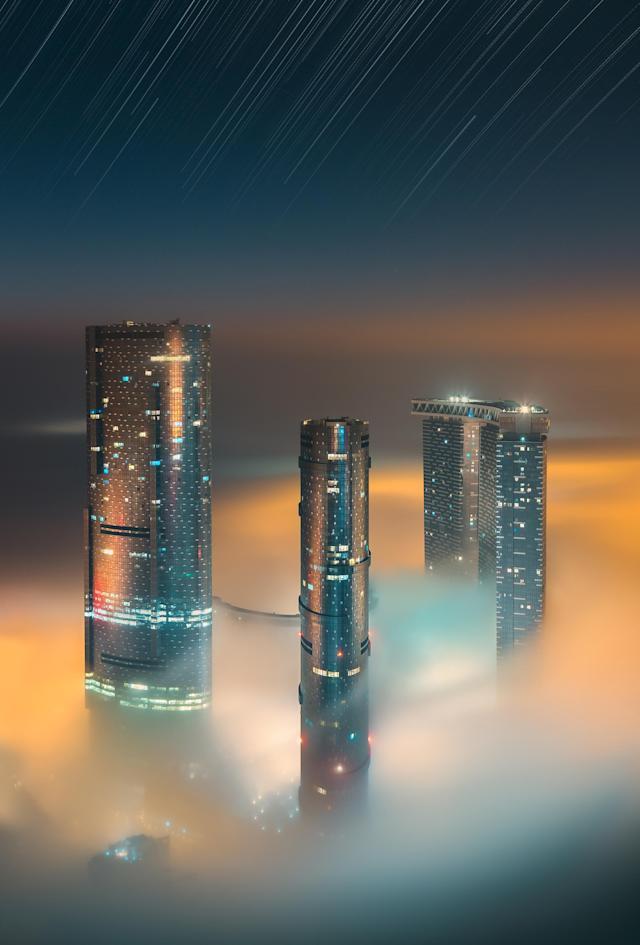 <p>Towers at night. (Photograph by Khalid Alhammadi/Caters News) </p>