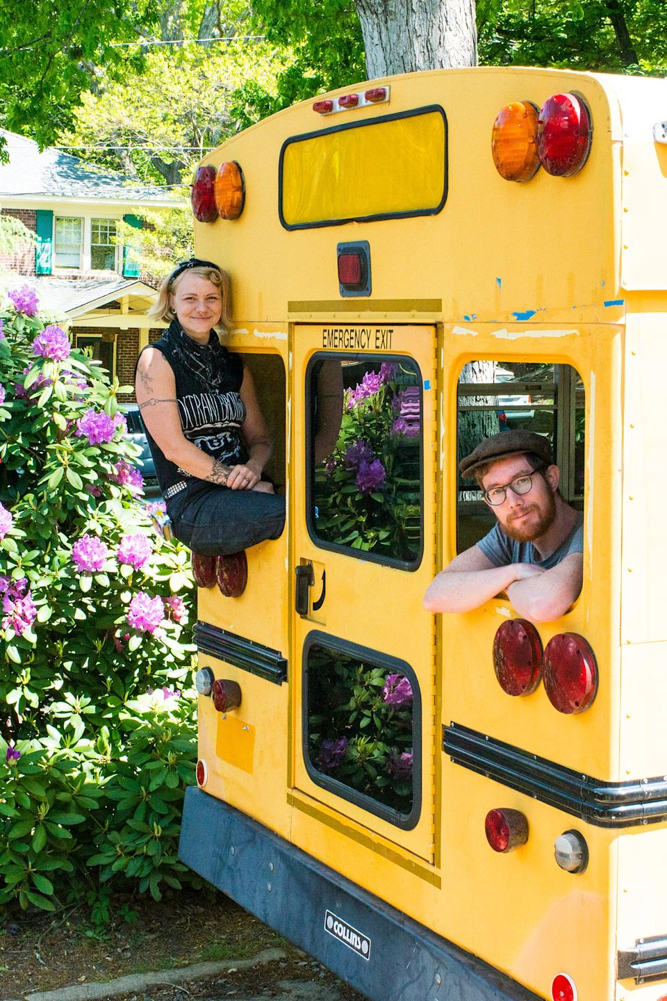Sparrow Kettner, 36, and her husband Keith Smith, 29, converted an old, yellow school bus into their future home. They are traveling musicians in a band called The Resonant Rogues.