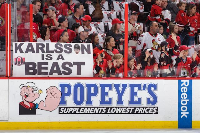 <p>Fans hold up a sign during warm-ups prior to a game between the Ottawa Senators and the Pittsburgh Penguins in Game Four of the Eastern Conference Final during the 2017 NHL Stanley Cup Playoffs at Canadian Tire Centre on May 19, 2017 in Ottawa, Ontario, Canada. (Photo by Jana Chytilova/Freestyle Photography/Getty Images) </p>