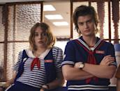 """<p><strong>For Robin:</strong> Unless you want to be a total dingus, you should definitely dress up as Robin from <strong><a class=""""link rapid-noclick-resp"""" href=""""https://www.popsugar.com/Stranger-Things"""" rel=""""nofollow noopener"""" target=""""_blank"""" data-ylk=""""slk:Stranger Things"""">Stranger Things</a></strong>. Her Scoops Ahoy outfit is the most notable, so we advise wearing a blue-and-white striped shirt with a navy vest and white collar on top.</p> <p><strong>For Steve:</strong> You'll need Steve's iconic Scoops Ahoy outfit, luscious brown hair, and probably a sexy stare, too. You can also add an ice cream scooper to finish off your look.</p>"""