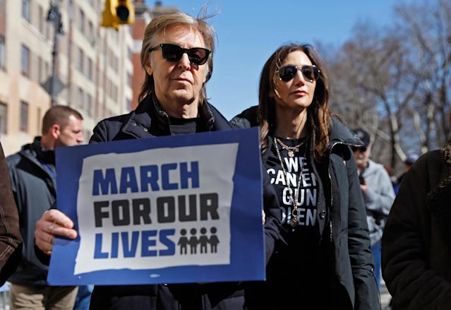 Paul McCartney and his wife, Nancy Shevell, march in New York City on March 24, 2018. (Photo: Shannon Stapleton/Reuters)