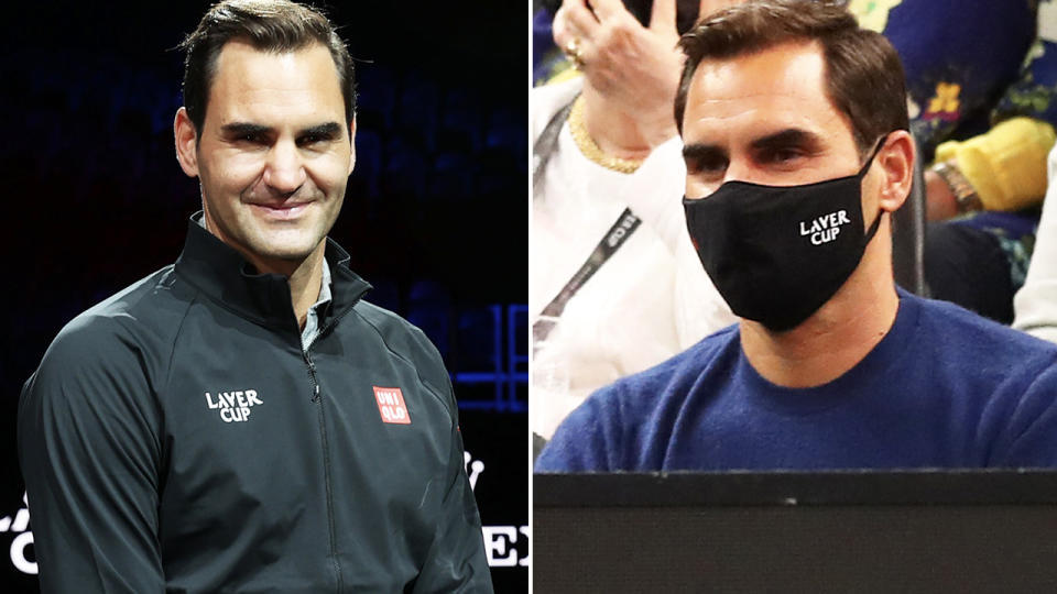 Roger Federer, pictured here in attendance on the opening day of the Laver Cup.
