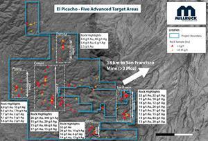 Plan View Map of Target Areas at El Picacho.
