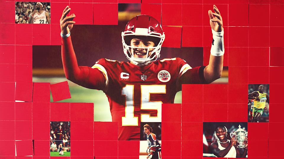 Patrick Mahomes' early-career dominance holds up against living legends like Serena Williams and Wayne Gretzky. (Getty Images)