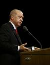 Turkish President Erdogan makes a speech during a meeting in Ankara