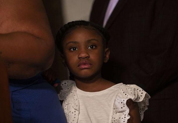 PHOTO: MINNEAPOLIS, MN - JUNE 2: George Floyd's daughter Gianna Floyd, attends a press conference with her mother Roxie Washington on June 2, 2020 in St. Paul, Minnesota. Washington was joined by Floyd's friend, former NBA Player Stephen Jackson. (Stephen Maturen/Getty Images)