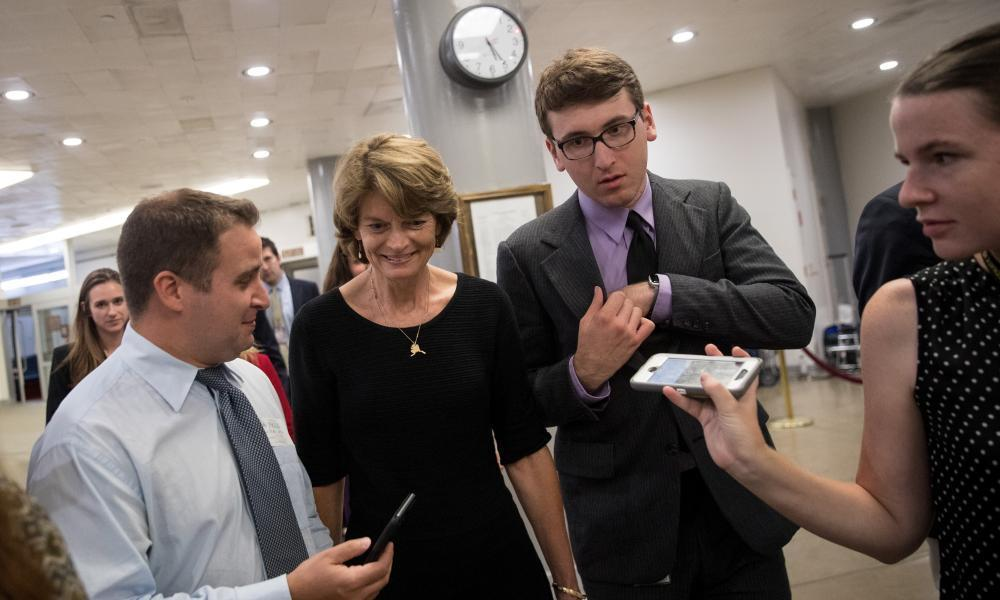 """<span class=""""element-image__caption"""">Lisa Murkowski on her way to debate the healthcare bill.</span> <span class=""""element-image__credit"""">Photograph: Drew Angerer/Getty Images</span>"""