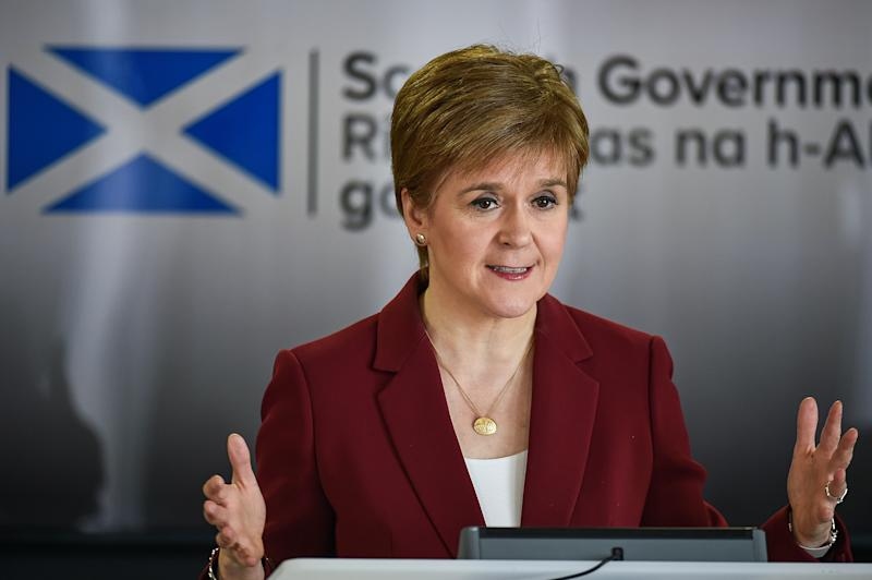 EDINBURGH, SCOTLAND - MARCH 29: The Scottish First Minister Nicola Sturgeon gives a coronavirus briefing at St Andrews House on March 29, 2020 in Edinburgh, Scotland. The Coronavirus (COVID-19) pandemic has spread to many countries across the world, claiming over 30,000 lives and infecting hundreds of thousands more. (Photo by Jeff J Mitchell - WPA Pool/Getty Images)