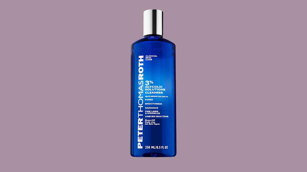"""<p>Gently exfoliate every single day with this renewing cleanser.</p><p><em><strong>Shop Now: </strong>Peter Thomas Roth 3% Glycolic Solutions Cleanser, $38, <a href=""""https://ulta.7eer.net/c/249354/164999/3037?subId1=MSL%2CHere%27sWhyBeautyExpertsSwearbyGlycolicAcid%E2%80%94Plus%2CTheirTopPicks%2Ckberger%2CBea%2CGal%2C1540907%2C201907%2CI&#038;u=https%3A%2F%2Fwww.ulta.com%2F3-glycolic-solutions-cleanser%3FproductId%3DxlsImpprod16661051"""" data-unprocessed-href=""""https://www.ulta.com/3-glycolic-solutions-cleanser?productId=xlsImpprod16661051"""" data-ecommerce=""""true"""" target=""""_blank"""" rel=""""nofollow"""" data-tracking-affiliate-name=""""www.ulta.com"""" data-tracking-affiliate-link-text=""""ulta.com"""" data-tracking-affiliate-link-url=""""https://www.ulta.com/3-glycolic-solutions-cleanser?productId=xlsImpprod16661051"""" data-tracking-affiliate-network-name=""""Impact Radius"""">ulta.com</a></em>.</p>"""