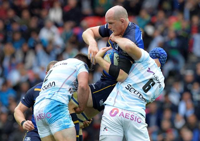 Rugby Union - European Champions Cup Final - Leinster Rugby v Racing 92 - San Mames, Bilbao, Spain - May 12, 2018 Leinster Rugby's Devin Toner in action with Racing 92's Wenceslas Lauret (R) REUTERS/Vincent West