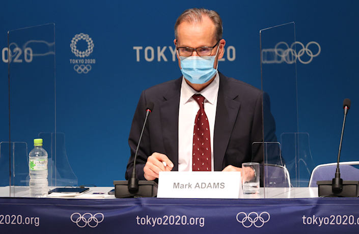 Mark Adams speaks at a news conference about the Tokyo Olympics.