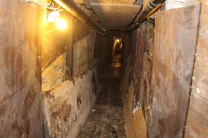 View of a tunnel found by soldiers of the Mexican army in the border city of Tijuana and apparently used to smuggle drugs into the United States on April 7, 2015
