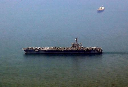 U.S. aircraft carrier USS Carl Vinson arrives at a port in Danang Vietnam