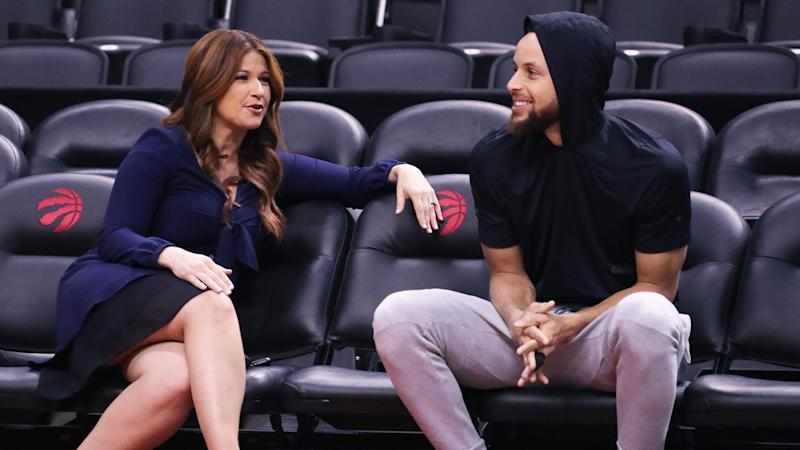ESPN reporter Rachel Nichols speaks to Steph Curry during a media session for the 2019 NBA Finals. (Photo by Nathaniel S. Butler/NBAE via Getty Images)