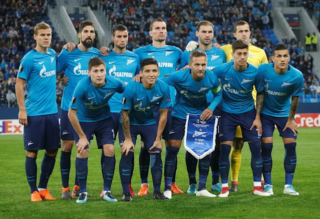 Soccer Football - Europa League Round of 32 Second Leg - Zenit Saint Petersburg vs Celtic - Stadium St. Petersburg, Saint Petersburg, Russia - February 22, 2018 Zenit St. Petersburg players pose for a team group photo before the match REUTERS/Anton Vaganov