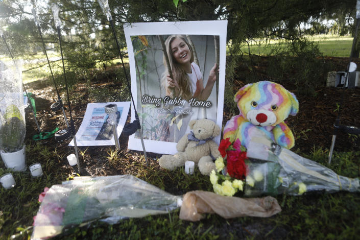 NORTH PORT, FL - SEPTEMBER 20: A makeshift memorial dedicated to missing woman Gabby Petito is located near City Hall on September 20, 2021 in North Port, Florida. A body has been found by authorities in Grand Teton National Park in Wyoming that fits the description of Petito, who went missing while on a cross-country trip with her boyfriend Brian Laundrie.  (Photo by Octavio Jones/Getty Images)
