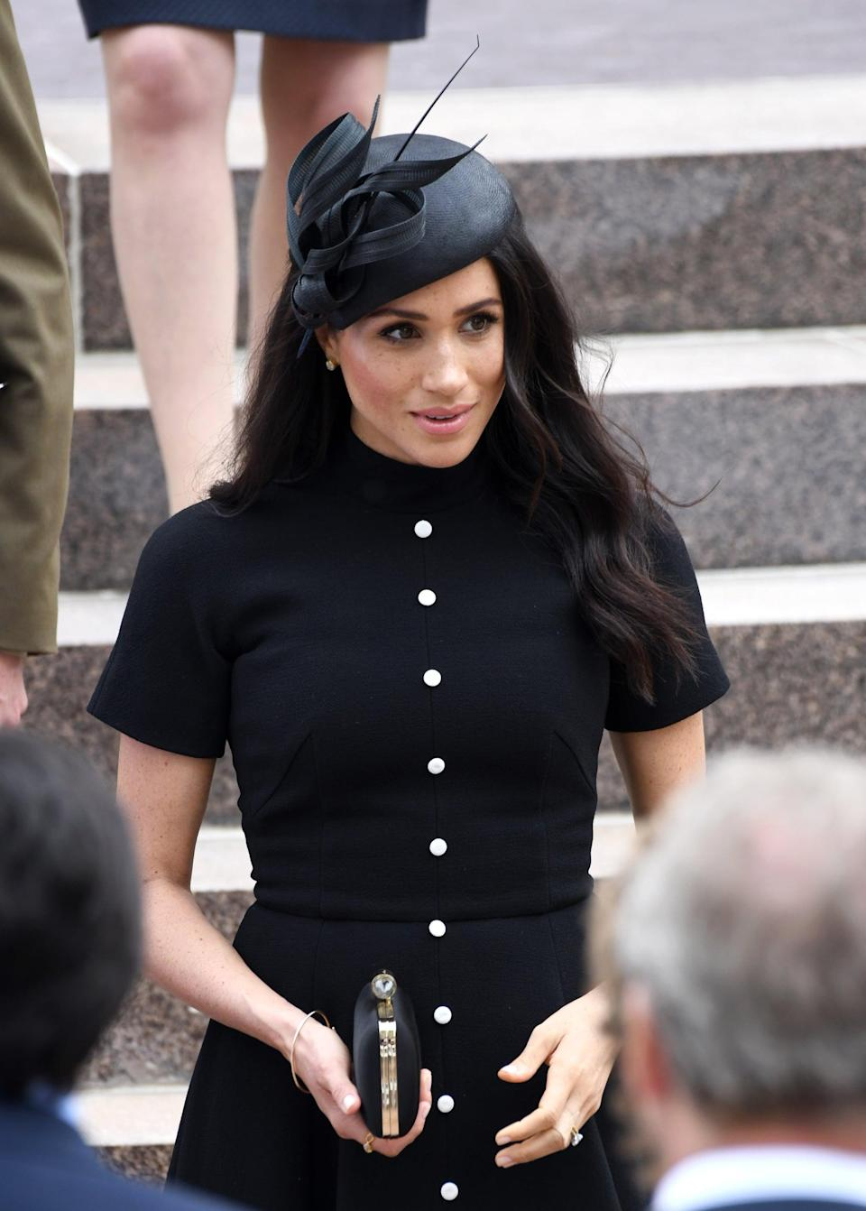 """<p>The duchess brought out <a href=""""https://www.popsugar.co.uk/beauty/photo-gallery/44301768/image/46295540/Meghan-Markle-Philip-Treacy-Hat-Half-Up-Hair-2018"""" class=""""link rapid-noclick-resp"""" rel=""""nofollow noopener"""" target=""""_blank"""" data-ylk=""""slk:this sophisticated topper once again"""">this sophisticated topper once again</a> for the opening of the extension of the ANZAC Memorial in Hyde Park during her tour of Australia in October 2018.</p>"""