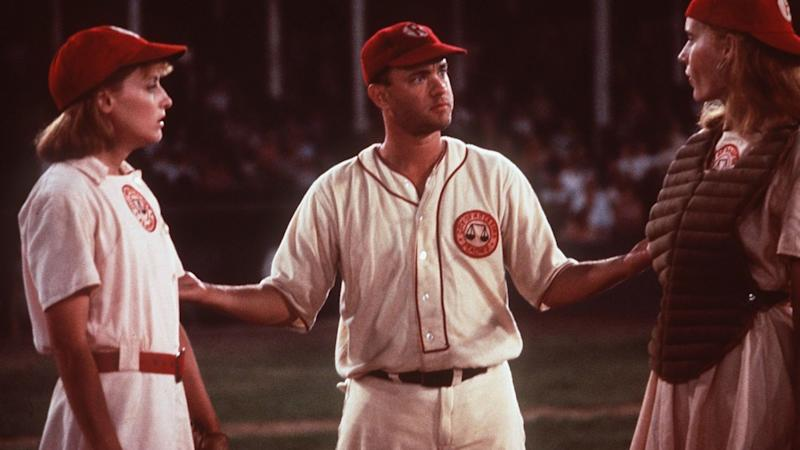 """Lori Petty, Tom Hanks and Geena Davis in the movie """"A League of Their Own."""""""