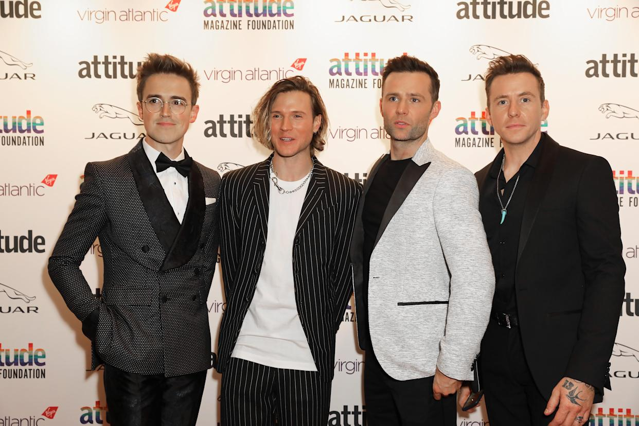 LONDON, ENGLAND - OCTOBER 09: : (L-R) Tom Fletcher, Dougie Poynter, Harry Judd and Danny Jones of McFly attend the Virgin Atlantic Attitude Awards 2019 at The Roundhouse on October 09, 2019 in London, England. (Photo by David M. Benett/Dave Benett/Getty Images)