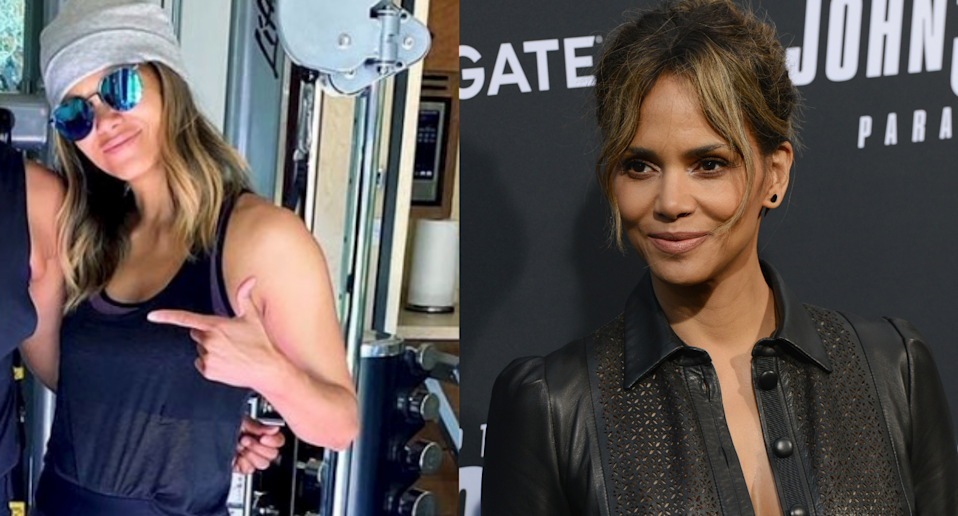 Halle Berry embraced her inner action star while wearing a $470 activewear set. Images via Instagram/ceciliabraekhus, Getty Images.