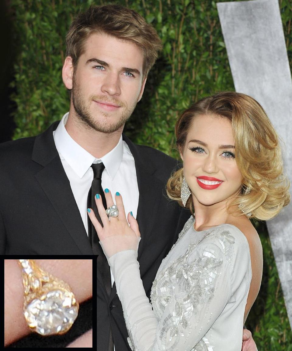 <p>Actor Liam Hemsworth proposed to Miley Cyrus in 2012 with a 3.5-carat ring from jeweler Neil Lane.</p>