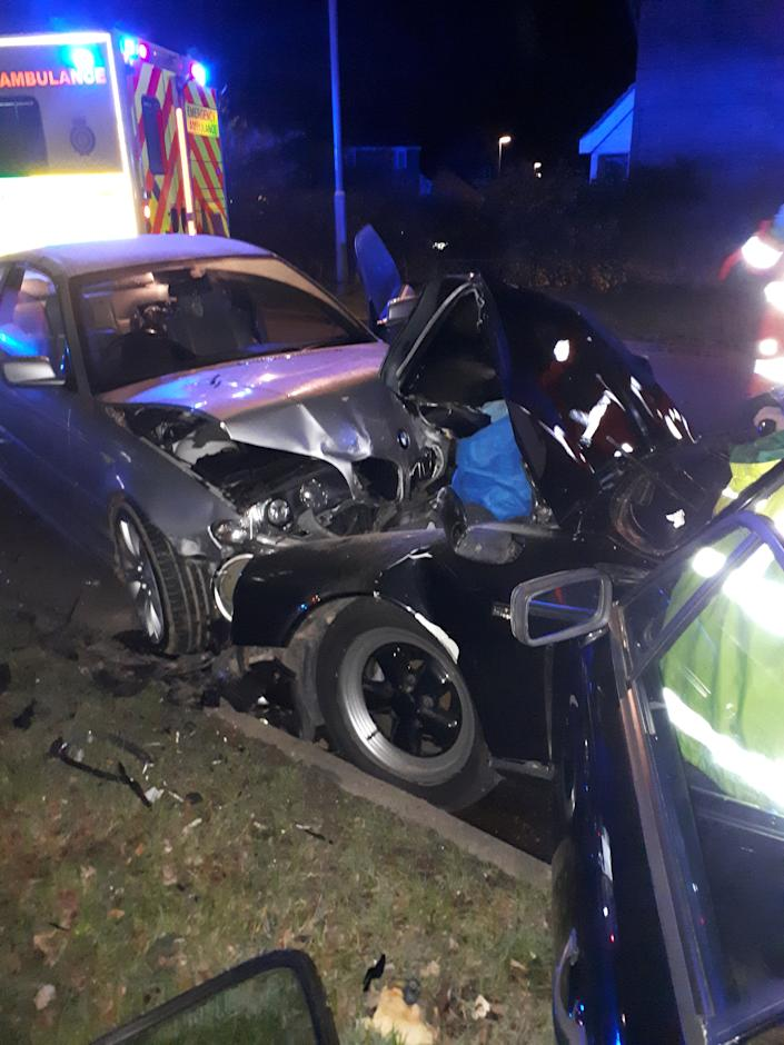 The Porsche driver injured his femur. (Cambridgeshire Constabulary/SWNS)