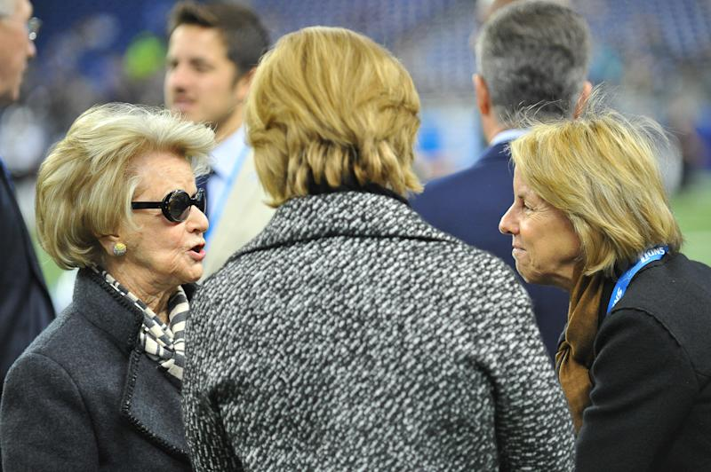 Martha Firestone Ford, left, has stepped down as Detroit Lions owner and chairman, giving way to her daughter, Sheila Ford Hamp, right. (Photo by Steven King/Icon Sportswire) (Photo by Steven King/Icon Sportswire/Corbis/Icon Sportswire via Getty Images)