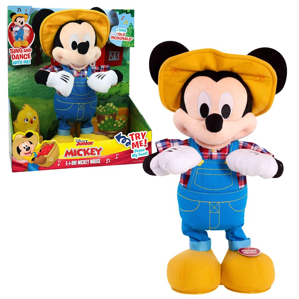 """<p><strong>Mickey Mouse</strong></p><p>walmart.com</p><p><strong>$62.33</strong></p><p><a href=""""https://go.redirectingat.com?id=74968X1596630&url=https%3A%2F%2Fwww.walmart.com%2Fip%2F594526583&sref=https%3A%2F%2Fwww.womansday.com%2Flife%2Fg34428616%2Fnew-toys-2020%2F"""" rel=""""nofollow noopener"""" target=""""_blank"""" data-ylk=""""slk:SHOP NOW"""" class=""""link rapid-noclick-resp"""">SHOP NOW</a></p><p>Sing and dance along with Farmer Mickey as he sings """"Old McDonald"""" and plays a """"What Animal Sound is That?"""" game when you turn him on. When it's time for bed, he easily powers down and is the perfect soft plush for kids to cuddle as they drift to sleep. <em>Ages 3+</em></p>"""