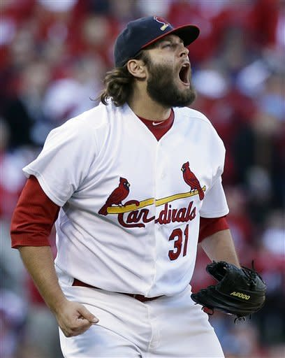 St. Louis Cardinals pitcher Lance Lynn reacts after striking out Washington Nationals' Jayson Werth with the bases loaded to end the top of the sixth inning during Game 1 of the National League division baseball series on Sunday, Oct. 7, 2012, at Busch Stadium in St. Louis, Mo. (AP Photo/The St. Louis Post-Dispatch, Chris Lee) EDWARDSVILLE INTELLIGENCER OUT; THE ALTON TELEGRAPH OUT