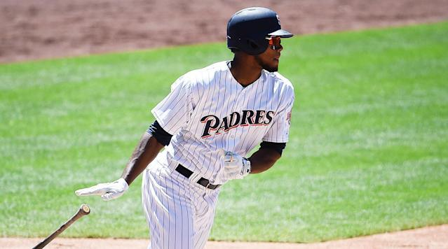 """<p>Hot on the Giants' heels for worst offense in MLB are the Padres, sitting pretty at 29th. Unlike the Giants, though, the Friars have a stable of hitting prospects they can blend into the lineup as the season wears on, offering valuable playing time on a team with its eye on contention at the start of next decade. The latest kid to join the party? Franchy Cordero.</p><p>The 22-year-old Cordero has played in just 19 games this season (and in his major league career), yet he <a href=""""http://www.fangraphs.com/leaders.aspx?pos=all&stats=bat≶=all&qual=0&type=8&season=2017&month=0&season1=2017&ind=0&team=29&rost=0&age=0"""" rel=""""nofollow noopener"""" target=""""_blank"""" data-ylk=""""slk:leads all Padres position players in Wins Above Replacement"""" class=""""link rapid-noclick-resp"""">leads all Padres position players in Wins Above Replacement</a> anyway, which is what happens when you bat .294/.351/.529 while playing your home games in a pitcher's park. Scouts have long viewed Cordero as a power prospect with a strong arm who might struggle in other ways, with a shoddy batting eye holding him back; Baseball America <a href=""""http://www.baseballamerica.com/minors/2017-san-diego-padres-top-10-prospects/#XkOgbRYGdwv6EZ0E.97"""" rel=""""nofollow noopener"""" target=""""_blank"""" data-ylk=""""slk:didn't even rank him among the Padres' top 10 prospects"""" class=""""link rapid-noclick-resp"""">didn't even rank him among the Padres' top 10 prospects</a> heading into this season. Cordero's plate discipline has been as bad as advertised, with the lanky outfielder striking out 29 times and walking just six times in 74 plate appearances (he went 0 for 4 on Sunday, taking a golden sombrero). Still, he's done serious damage when he's connected, cranking three homers, two triples, and three doubles.</p><p>His batting line will look very different once his small sample-induced .472 batting average on balls in play comes down to Earth. Still, one of the advantages of playing for tomorrow is giving your kids a chance. Multiple inju"""