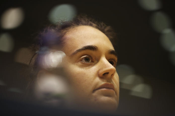 German boat captain Carola Rackete attends a Civil Liberties and Justice Committee at the European Parliament in Brussels, Thursday, Oct. 3, 2019. (AP Photo/Francisco Seco)