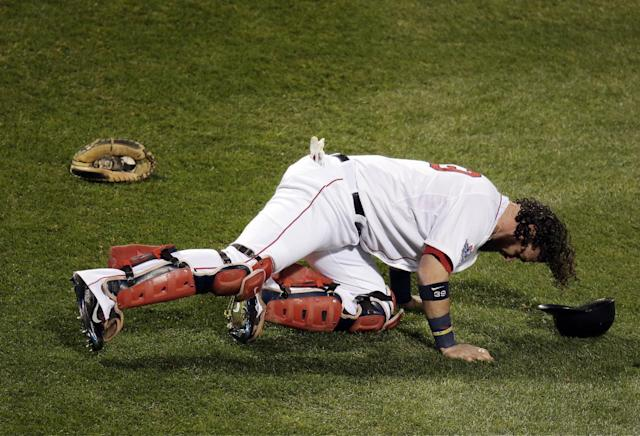Boston Red Sox catcher Jarrod Saltalamacchia stretches before Game 2 of baseball's World Series against the St. Louis Cardinals Thursday, Oct. 24, 2013, in Boston. (AP Photo/Charlie Riedel)