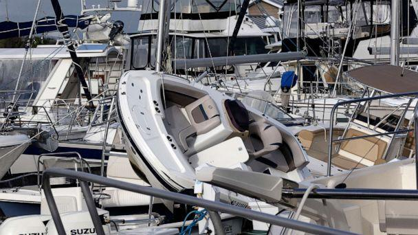 PHOTO: Boats are piled on each other at the Southport Marina following the effects of Hurricane Isaias in Southport, N.C., Aug. 4, 2020. (Gerry Broome/AP)