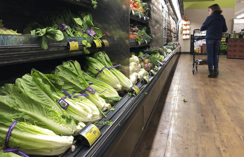 Romaine lettuce at a California grocery store. The Centers for Disease Control and Prevention recommends you throw away any romaine lettuce you have.